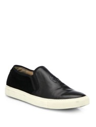 Alexander Mcqueen Skull Leathe And Calf Hair Slip On Sneakers Black