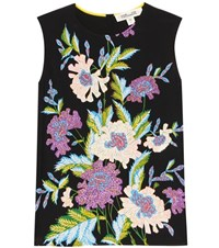 Diane Von Furstenberg Sleeveless Shell Printed Silk Top Multicoloured
