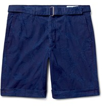 Officine Generale Julian Slim Fit Cotton Jacquard Shorts Navy