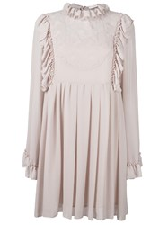 See By Chloe Floral Embroidered Bib Dress Pink Purple