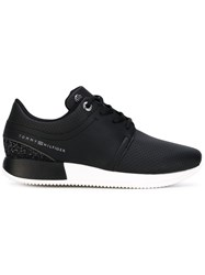 Tommy Hilfiger Perforated Decoration Sneakers Women Calf Leather Polyester Foam Rubber 40 Black