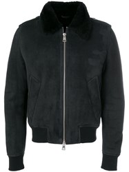 Ami Alexandre Mattiussi Shearling Zipped Jacket Black