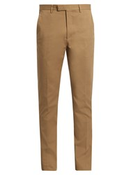 Gucci Slim Leg Cotton Blend Gabardine Chino Trousers Beige