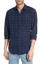 Rails Men's Connor Linen And Rayon Shirt Navy Sky White Plaid