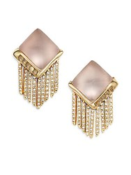 Alexis Bittar Lucite And Crystal Pyramid Spear Fringe Clip On Earrings Rose Grey