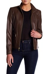 Cole Haan Genuine Lamb Leather Zip Jacket Brown