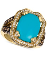 Le Vian Chocolatier Turquoise 6 3 4 Ct. T.W. And Diamond 1 1 3 Ct. T.W. Ring In 14K Gold Blue
