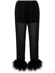 Prada Sheer Effect Trousers With Ostrich Feather Cuffed Ankles Black