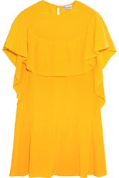 Red Valentino Redvalentino Ruffled Silk Mini Dress Bright Yellow