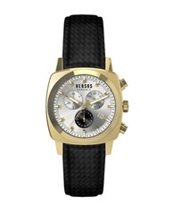 Versus By Versace Riverdale Goldtone Stainless Steel Black Strap Chronograph Soi050015