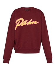 P.A.M. Away Logo Print Cotton Sweatshirt Burgundy