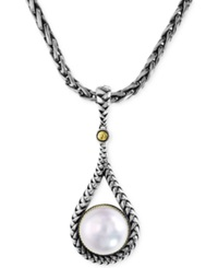 Effy Collection Balissima By Effy Cultured Freshwater Pearl Teardrop Pendant Necklace In 18K Gold And Sterling Silver 10Mm