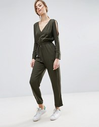 Asos Jumpsuit In Twill With Cold Shoulder And Waist Detail Dark Khaki Green