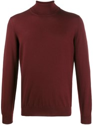 Fay Turtle Neck Plain Jumper Red