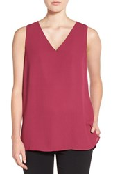 Pleione Women's Crepe V Neck Tank Purple Fuchsia