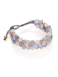 Chan Luu Blue Lace Agate Grey Cloudy Quartz And Leather Beaded Triple Row Bracelet Gold Blue