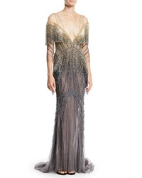 Pamella Roland Beaded Embellished Illusion Column Evening Gown Gray Yellow