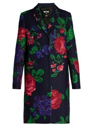 Msgm Floral Print Single Breasted Wool Blend Coat Navy Multi