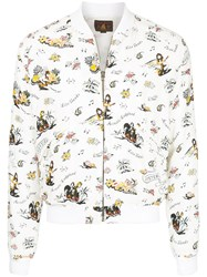 Hysteric Glamour Printed Bomber Jacket Cupro Rayon White