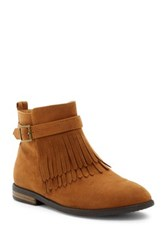 Godiva Fringe Vegan Leather Boot Brown