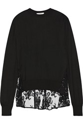 Erdem Tita Lace Paneled Knitted Sweater Black