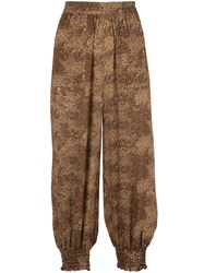 Nicholas Dotted Print Cropped Trousers Brown