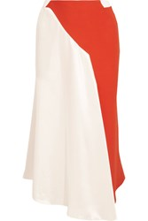Thierry Mugler Asymmetric Two Tone Crepe And Satin Skirt White
