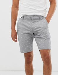 Only And Sons Printed Chino Shorts In Grey