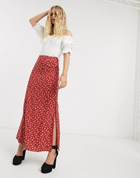 Motel Maxi Skirt With Thigh Splits In Floral Red
