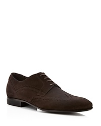 Salvatore Ferragamo Marzio Studio Suede Wingtip Oxfords Fondente Brown