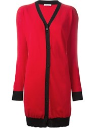 Tomas Maier Contrast Trim Long Cardigan Red