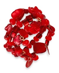 Style And Co. Gold Tone Red Shell Three Row Stretch Bracelet