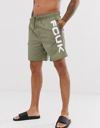 French Connection Swim Short With Logo Green