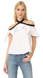 Alice Olivia Alyssa Off Shoulder Halter Blouse White Black