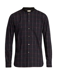 Maison Kitsune Checked Cotton Flannel Shirt Navy Multi