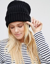 Warehouse Ribbed Beanie Hat Black