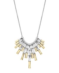John Hardy 18K Yellow Gold And Sterling Silver Bamboo Bib Necklace 16 Silver Gold