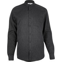 River Island Mens Grey Waffle Grandad Collar Shirt