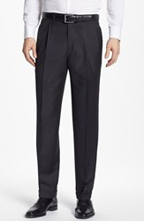 Men's Santorelli 'Luxury Serge' Double Pleated Wool Trousers Charcoal