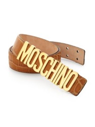 Moschino Lettered Croc Embossed Leather Belt Light Brown Black