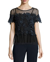Elie Tahari Noreen Short Sleeve 3D Lace Top Navy Multi Women's Navy Multi