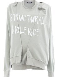 Moohong Distressed Slogan Sweatshirt Grey
