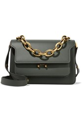 Marni Trunk Medium Leather Shoulder Bag Sage Green