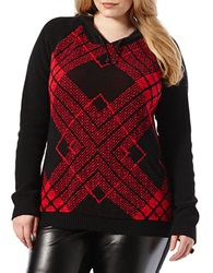 Harper Liv Plus Cotton Hooded Sweater Black Red