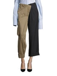 Monse Striped Cargo Pants Dark Khaki Dark Grey