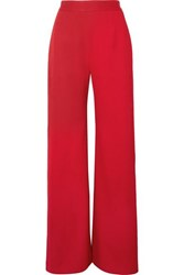 Brandon Maxwell Crepe Wide Leg Pants Red