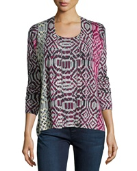 Neiman Marcus Cashmere Collection Tribal Print Cashmere Cardigan