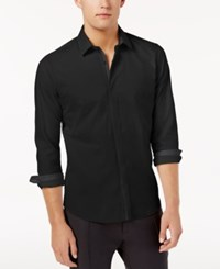 Ryan Seacrest Distinction Men's Hidden Placket Solid Textured Woven Shirt Created For Macy's Black