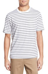Men's Brooks Brothers Stripe Supima Cotton Crewneck T Shirt White