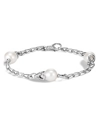 John Hardy Sterling Silver Bamboo Cultured Freshwater Pearl Station Bracelet White Silver